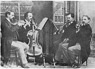 Musical ensemble - The Kneisel String Quartet, led by Franz Kneisel, is an example of chamber music.  This American ensemble debuted Dvořák's American Quartet, opus 96