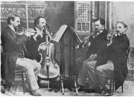 The Kneisel String Quartet, led by Franz Kneisel. This American ensemble debuted Dvorak's American Quartet, Op. 96. KneiselQuartet.jpg