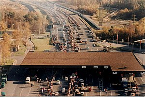 Fall of the inner German border - Scene at the Helmstedt border crossing into East Germany in November 1989 after the freeing of travel restrictions.