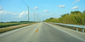 Florida State Road 997 - Krome Avenue northbound about two miles south of Kendall Drive; the undeveloped western boundary of The Hammocks is on the right and a large cornfield is on the left (January, 2008)