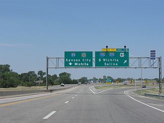 Kansas Turnpike - Northbound at Exit 42 where I-135 begins while the turnpike turns more northeast