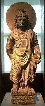 figura de bronze O Bodhisattva Maitreya, século 2, Gandhara