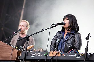 LCD Soundsystem - Al Doyle (left) and Nancy Whang performing as part of the band in 2016