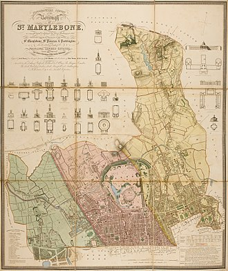 Marylebone - Topographical survey of St. Marylebone, St. Pancras and Paddington. Engraving by B.R. Davies, 1145 x 950mm, dated 1834.
