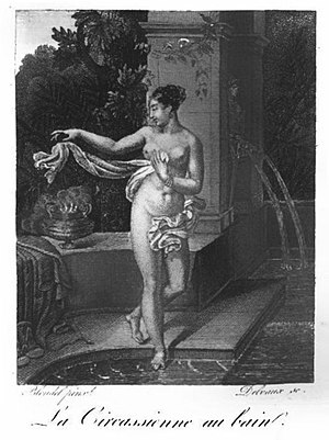 La Circassienne au Bain - An engraving made in 1923 of the painting