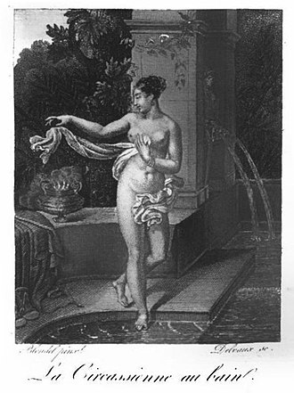 La Circassienne au Bain - An illustration of the painting which appeared in the publication Almanach des Dames in 1823.