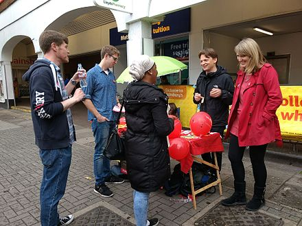 Campaigning on polling day, 8 June 2017 Labour party campaigning June 2017 election.jpg
