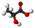 Ball-and-stick model of lactic acid