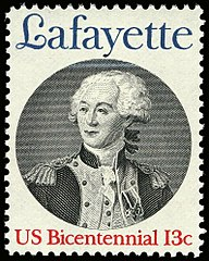 200th anniversary of Lafayette's arrival, 1977 issue as part of the Bicentennial Series