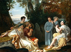 Ancient accounts of Homer - Sappho sings for Homer, Charles Nicolas Rafael Lafond, 1824