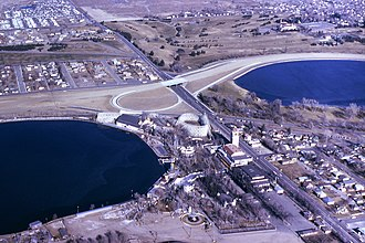 Lakeside Amusement Park - Aerial view of Lakeside Amusement Park looking NNE, January, 1966