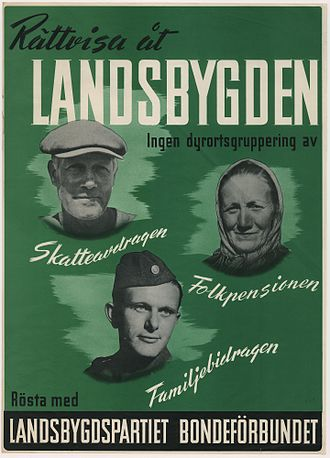 Centre Party (Sweden) - Farmers' League election poster from 1945.