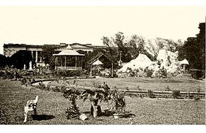 Wasif Manzil - An old photo of the landscape garden of the palace with the artificial hill which no longer exists.