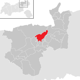 Location of the municipality of Langkampfen in the Kufstein district (clickable map)