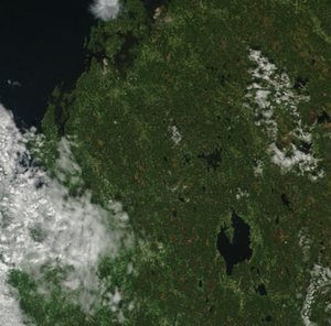Lake Lappajärvi - Lappajärvi is the largest lake near the lower right corner.