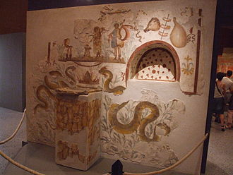 Household deity - Shrine of the household deities lares in Pompeii, showing the offering altar and a niche for votive images