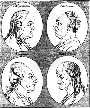 Humorism - The four temperaments as depicted in an 18th-century woodcut: phlegmatic, choleric, sanguine and melancholic.