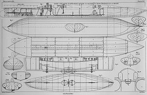 French submarine Plongeur - Drawings for Plongeur.