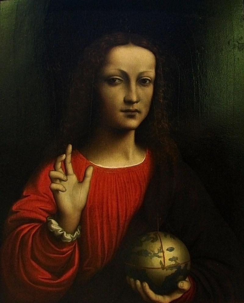 Иисус Христос в иконографии «Спаситель мира» (Salvator mundi) держит державу, которая символизирует земной шар под его властью (видны очертания материков)