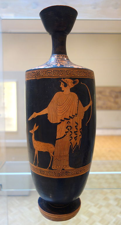 File lekythos with artemis pouring libation and faun view for Artemis decoration
