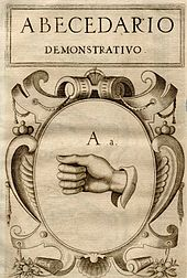 a scan of the cover of a historic book, it shows some Spanish text and a drawing of a hand forming a sign