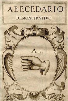 Frontespizio dell'abbecedario dimostrativo spagnolo di Juan Pablo Bonet, del 1620