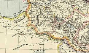 Kars Oblast - An 1883 map including Kars Oblast and adjacent provinces of Russian and Ottoman Empires