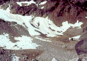 Retreat of glaciers since 1850 - The Lewis Glacier, North Cascades National Park after melting away in 1990