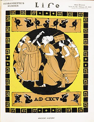 Rea Irvin - Cover of ''Life'' magazine in 1913 showing a Greek-style scene of suffrage activists led by one resembling Susan B. Anthony