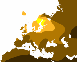 "Light hair map (""light"" hair refers to blonde, red, and light brown). The yellow represents 80%+ light hair, light orange is 50-79% light hair, light brown is 20-49% light hair, dark brown is 1-19% light hair, and black represents no presence of light hair in the indigenous population."