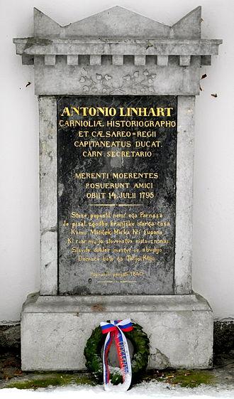 Anton Tomaž Linhart - Tombstone of Anton Tomaž Linhart  with verses by the poet France Prešeren in Navje memorial park in Ljubljana