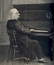 Liszt at piano, 1886. Engraving based on an old photograph.