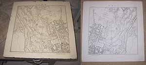 Lithography - Lithography stone and mirror image print of a map of Munich