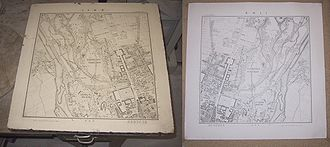 History of geodesy - Negative lithography stone and positive print of a historic map of Munich