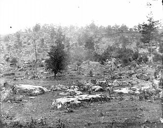 Little Round Top - Little Round Top, western slope, photographed by Timothy H. O'Sullivan, 1863