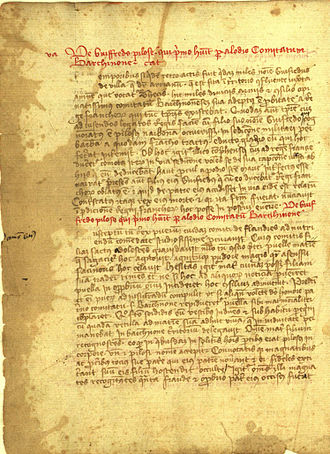 Gesta comitum Barcinonensium - Page of the Gesta Comitum Barcinonensium telling the legend of Wilfred the Hairy.