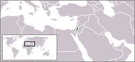 A map showing the location of Palestine