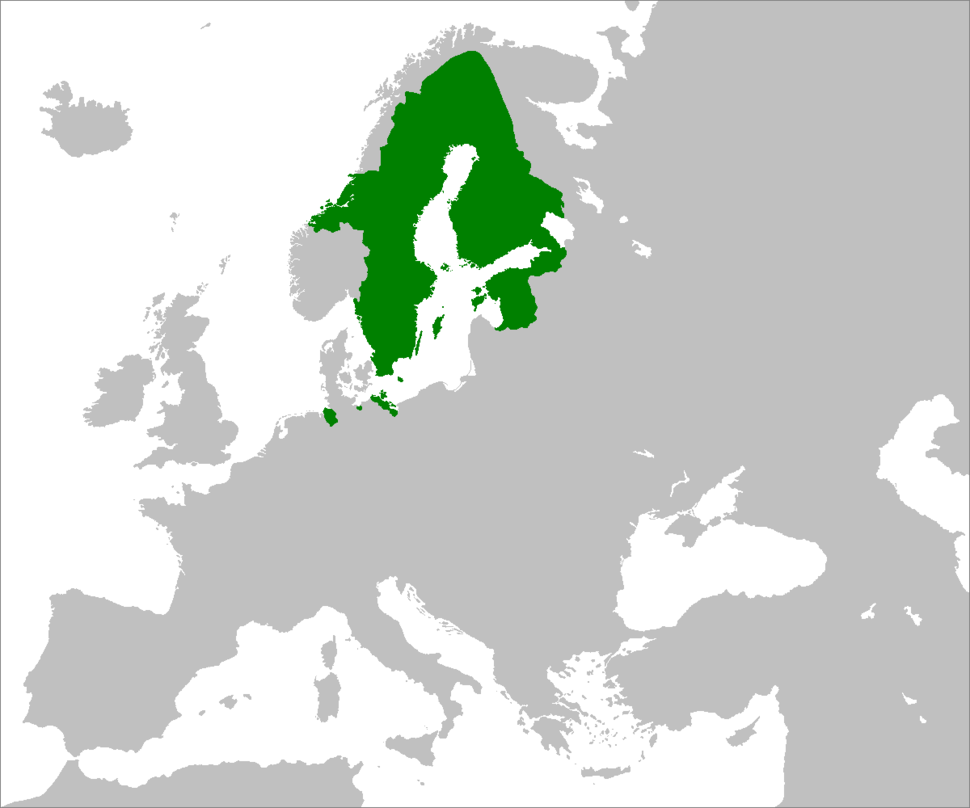 The Swedish Empire at its height in 1658. Overseas possessions are not shown.