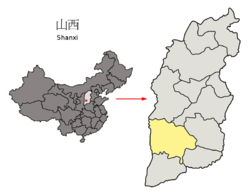 Location of Linfen City jurisdiction in Shanxi