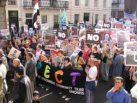 Protesters on 19 March 2005, in London, where over 150,000 marched London Anti-war demo 2005.jpg