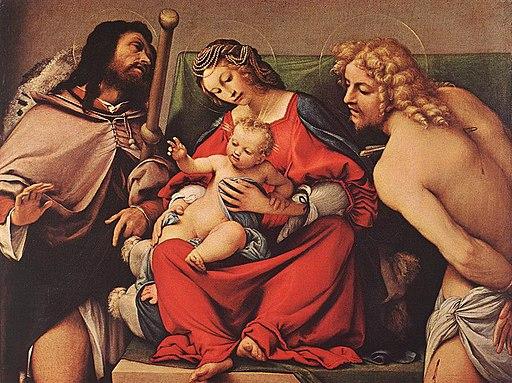 Lorenzo Lotto - Madonna with the Child and Sts Rock and Sebastian - WGA13680