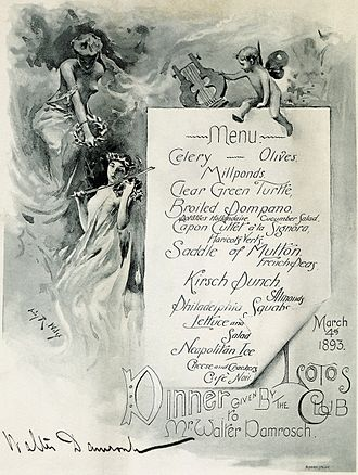 "Walter Damrosch - A dinner menu containing Walter Damrosch's signature from an 1893 Lotos Club ""state dinner"" in his honor."