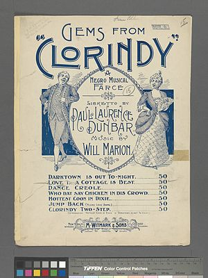 African-American musical theater - Sheet music cover for Clorindy (1898)