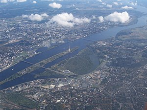 Riga Radio and TV Tower - Aerial view of Zaķusala and the Daugava.