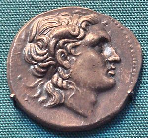 Lysimachus - Obverse of coin of Lysimachus: The horned Alexander appears as the king's divine patron.