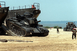M60 Patton - M60A2 tank is driven off LARC 60 amphibious landing craft during the Army exposition PROLOG '85.