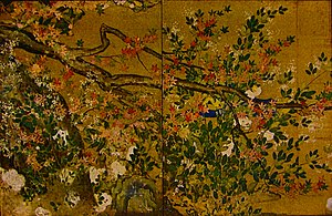 Hasegawa Tōhaku - Maple,  colour on gold paper, at Chishaku-in, Kyoto (1593)