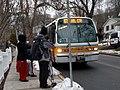 MBTA route 67 bus on Turkey Hill, March 2017.jpg