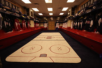 Bell Centre - The Canadiens' locker room prior to being renovated.