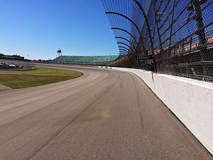 Michigan International Speedway - Turn 1 at Michigan International Speedway, 2014. The track was repaved in 2012.